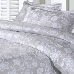 Design Port Kew Silver Jacquard Cotton Duvet Cover Sets and Coordinates
