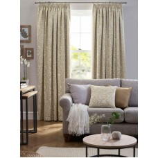 Design Studio Eleanor Pale Ochre Pencil Pleat Lined Curtains