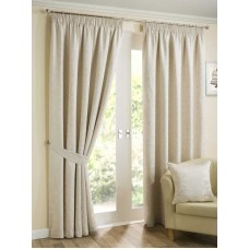 Design Studio Elizabeth Natural Pencil Pleat Lined Curtains