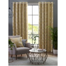Design Studio Ginkgo Ochre Eyelet Lined Curtains