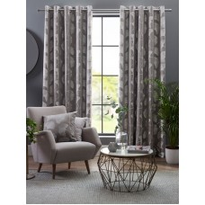 Design Studio Ginkgo Grey Eyelet Lined Curtains