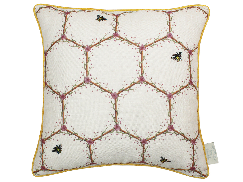 The Chateau by Angel Strawbridge Honeycombe Filled Cushion Cream