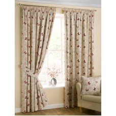 Design Studio Mariposa Red Pencil Pleat Lined Curtains