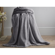 Deyongs 1846 Brampton Charcoal 260gsm Jacquard Flannel Throw