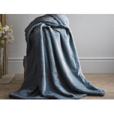 Deyongs 1846 Brampton Petrol 260gsm Jacquard Flannel Throw
