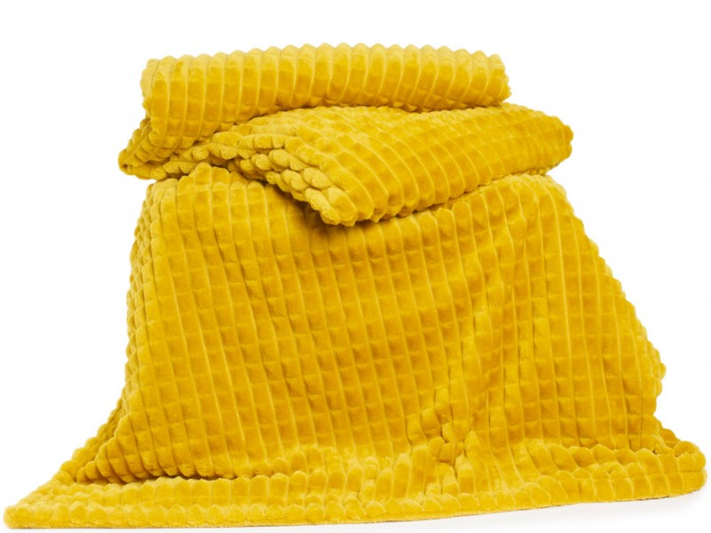Deyongs 1846 Saxilby Ochre Jacquard Flannel Throw