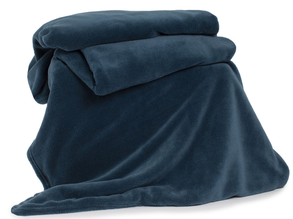 Deyongs 1846 Large Snuggle Touch Petrol Blue Throw