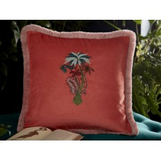Emma J Shipley New Jungle Palms Square Coral Cushion