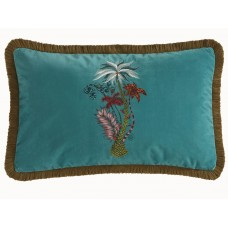 Emma J Shipley New Jungle Palms Rectangular Teal Cushion