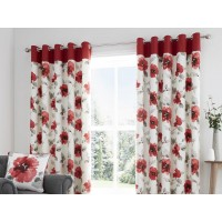 Fusion Adriana Red Lined Eyelet Curtains and Cushion