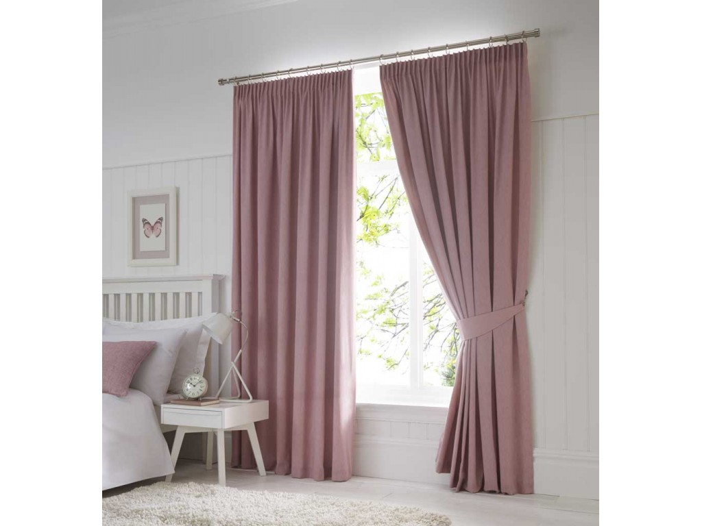 Fusion Dijon Blush Pencil Pleat Blackout Curtains And Tiebacks