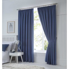 Fusion Dijon Denim Pencil Pleat Blackout Curtains and Tiebacks