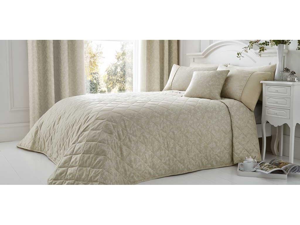 Serene Ebony Damask Jacquard Natural Bedspread Bedcover