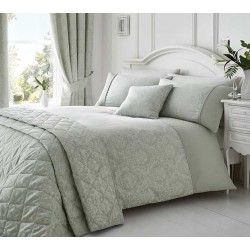 Serene Laurent Silver Damask Jacquard Duvet Cover Sets and Coordinates