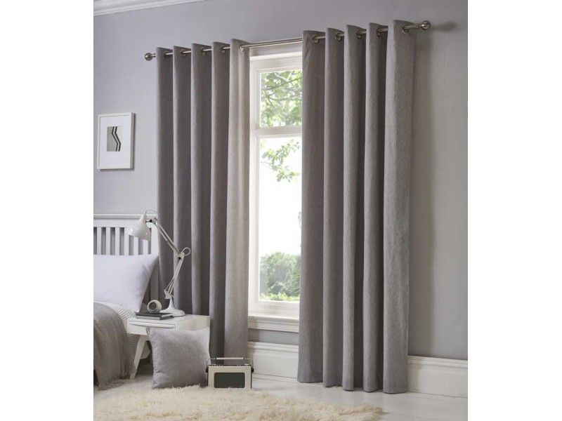 Fusion Eyelet Sorbonne Silver Curtains and Cushions