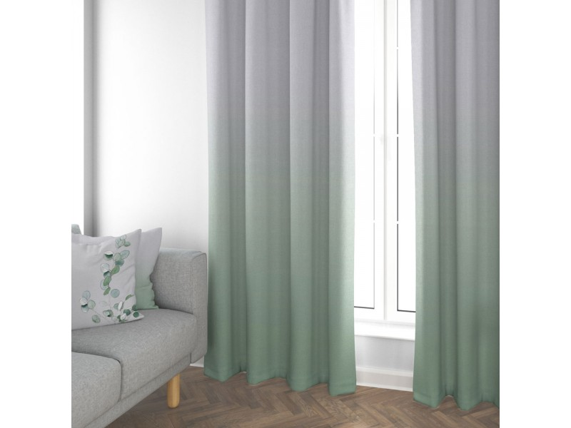 "Cotton Anthology Frost Green 3"" Pencil Pleat Header Curtains"