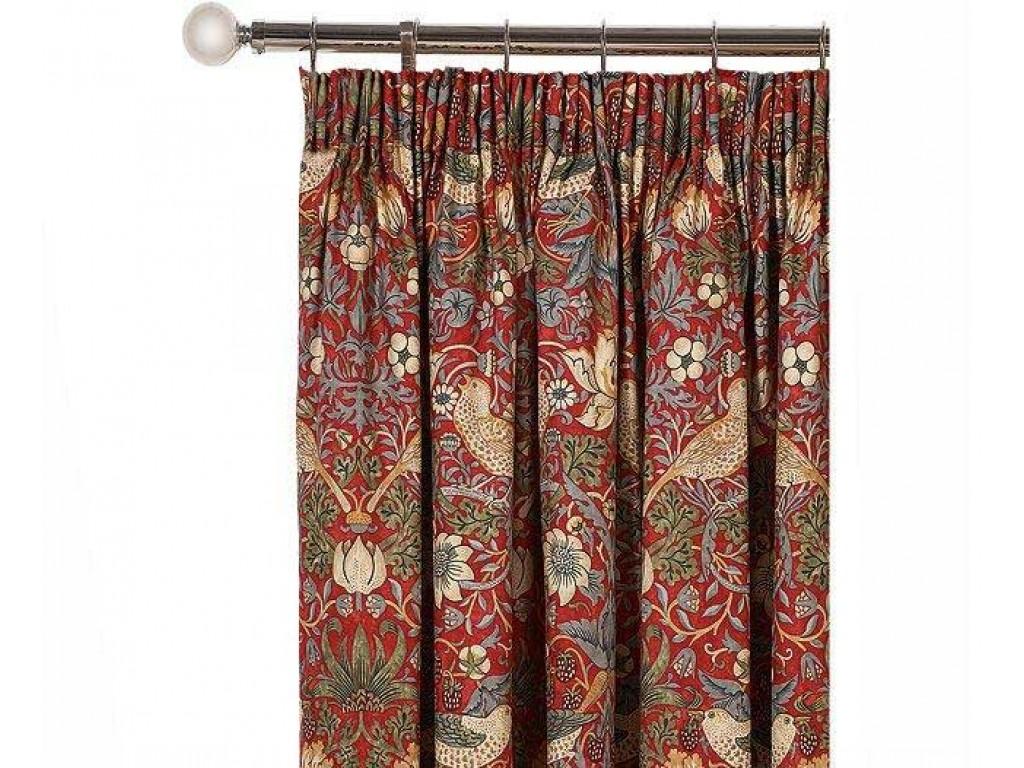 William Morris Crimson Strawberry Thief Lined Curtain Pairs