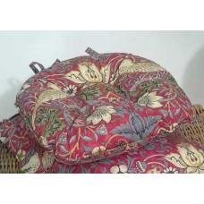 William Morris Crimson Strawberry Theif Piped Seat Pads
