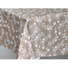Le Chateau Oil Cloth Table Linen Per Metre Floral Sprig Beige