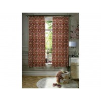 William Morris Red Strawberry Thief Minor Unlined Curtain Pairs