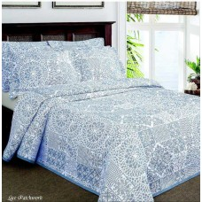 Elainer Lace Patchwork Blue Bedspreads and Pillowsham