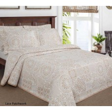 Elainer Lace Patchwork Oatmeal Bedspreads and Pillowsham