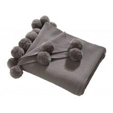 Oasis New Pom Pom Grey Throw & Cushion