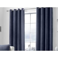 Curtina Kilbride Cord Navy Eyelet Curtains and Cushions