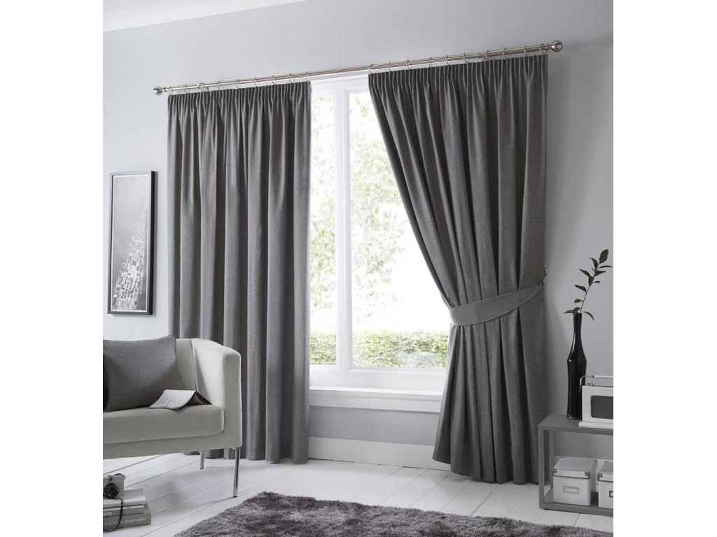 Fusion Dijon Charcoal Pencil Pleat Blackout Curtains And