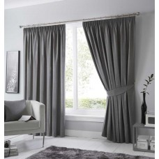 Fusion Dijon Charcoal Pencil Pleat Blackout Curtains and Tiebacks