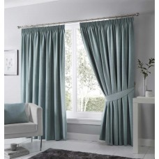 Fusion Dijon Duck Egg Pencil Pleat Blackout Curtains and Tiebacks