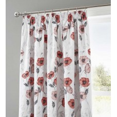 Dreams n Drapes Fliss Red Pencil Pleat Lined Curtains
