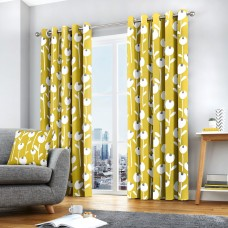 Fusion Alabar Ochre Lined Eyelet Curtains