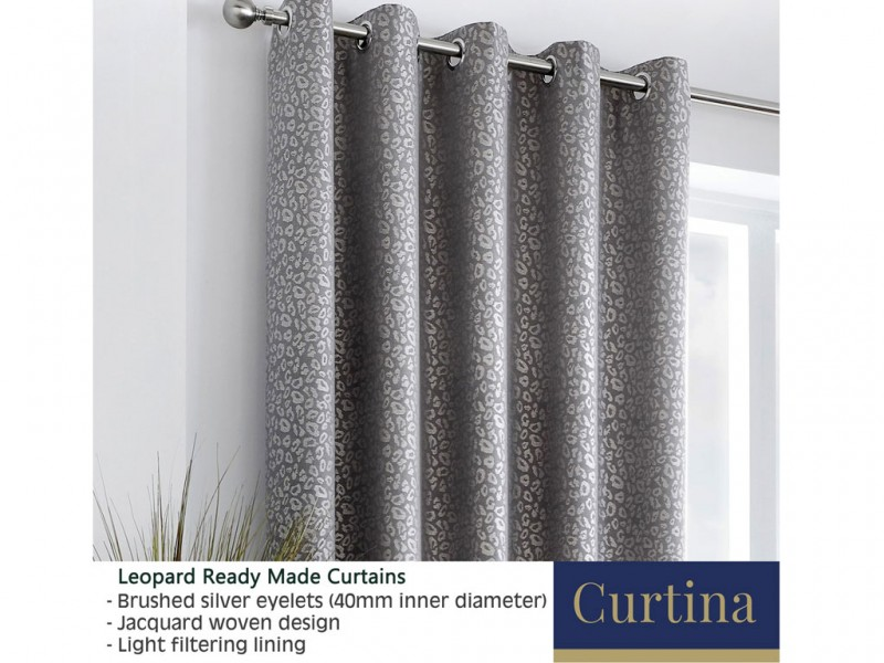Curtina Leopard Graphite Eyelet Curtains and Cushions