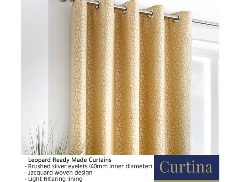 Curtina Leopard Ochre Eyelet Curtains and Cushions
