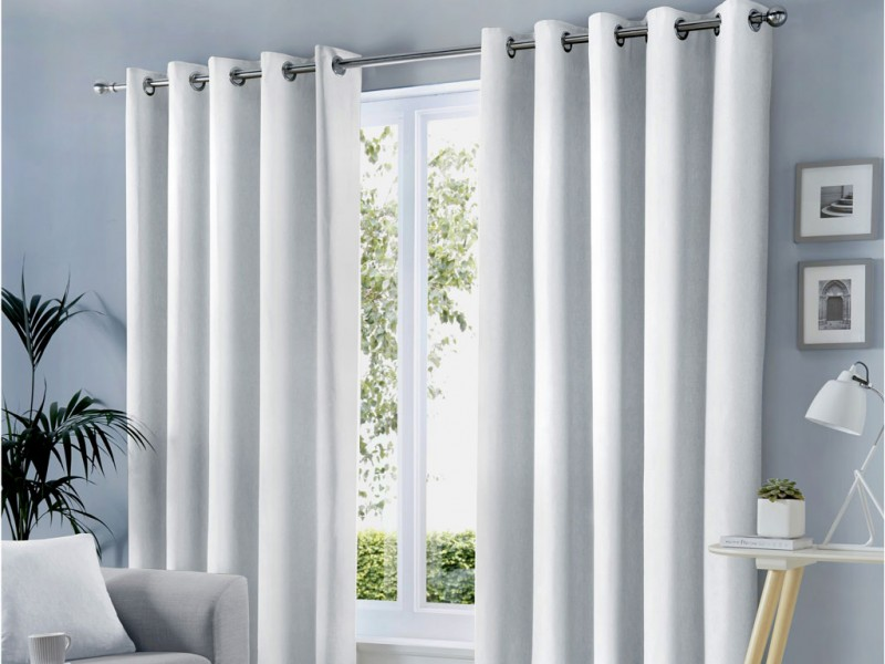 Fusion Eyelet Sorbonne White Curtains and Cushions