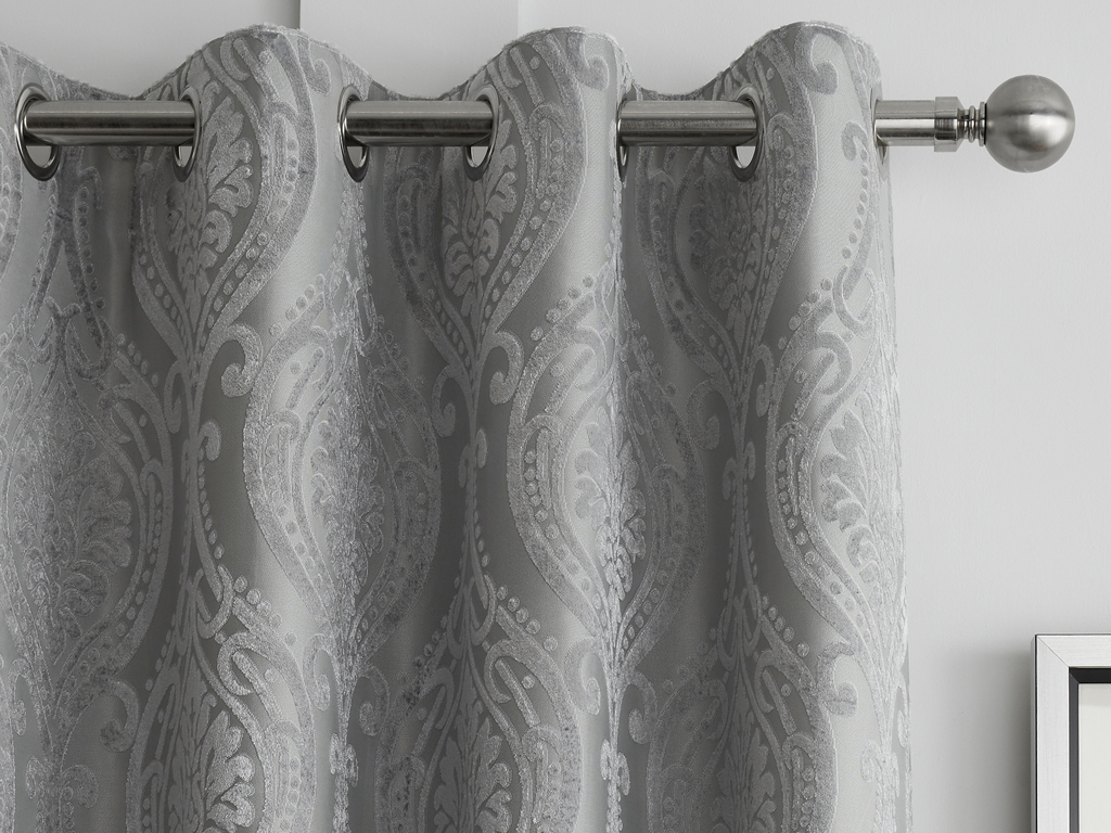 Curtina Chateau Silver Damask Eyelet Curtains and Cushions