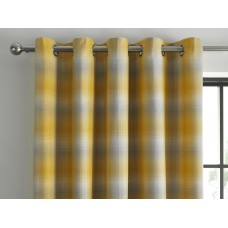 Curtina New Lincoln Check Ochre Jacquard Eyelet Curtains and Cushions
