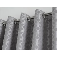 Curtina New Oriental Squares Jacquard Silver Eyelet Curtains and Cushions
