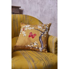 The Chateau by Angel Strawbridge Blossom and Butterfly Filled Ochre Cushion