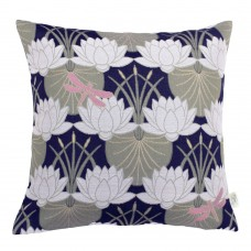 The Chateau by Angel Strawbridge Lily Pad Filled Cushion Navy