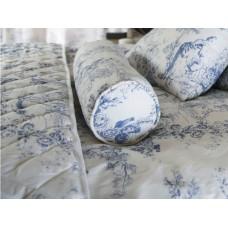 Toile De Jouy Antique Blue Filled Bolster Cushion