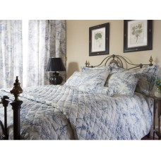 Toile De Jouy Antique Blue Quilted Bedspreads