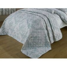 Toile De Jouy Antique Green Quilted Bedspreads