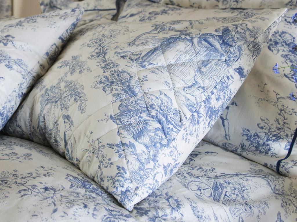 Toile Pillow Sham Blue Greyhound Toile