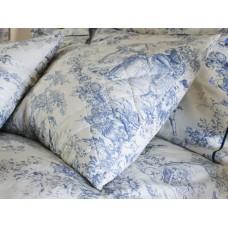 Toile De Jouy Antique Blue Quilted Pillow Shams