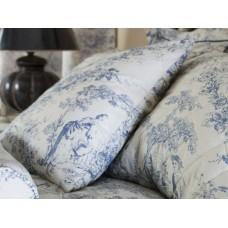 Toile De Jouy Antique Blue Filled Square Cushion