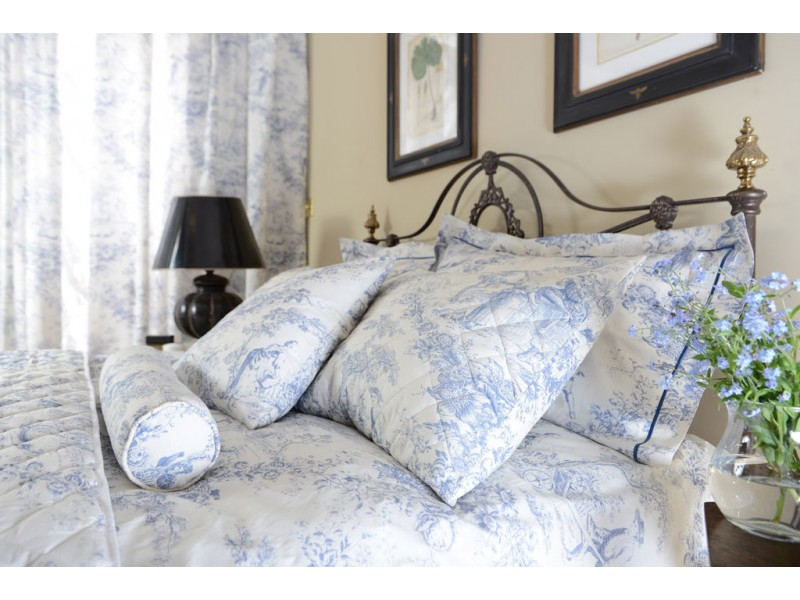 Toile De Jouy China Blue Lined Curtains