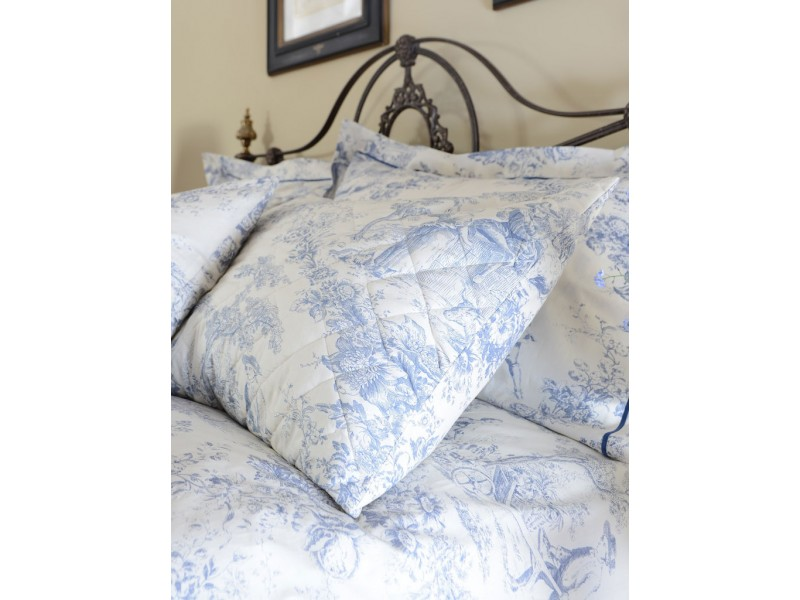 Toile De Jouy China Blue Quilted Pillow Shams