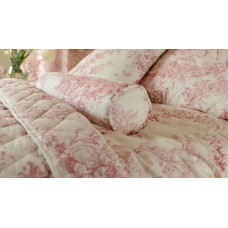 Toile De Jouy Antique Pink Filled Bolster Cushion